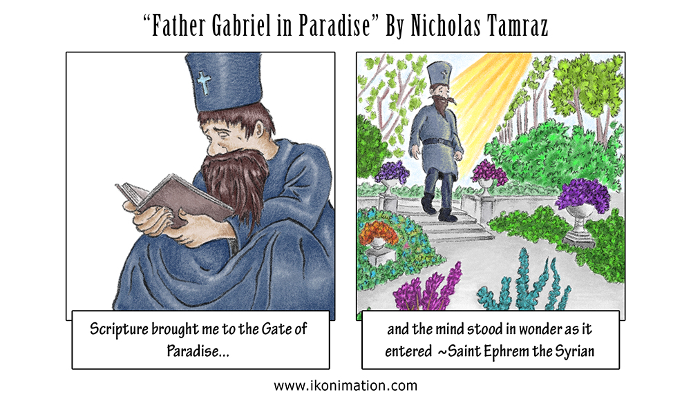 Father Gabriel in Paradise comic strip