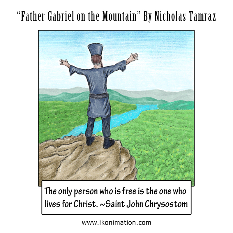 Father Gabriel on the Mountain comic strip